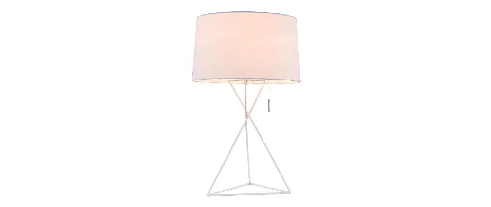 Lampe à poser design avec pied métal et abat jour tissu blancs GAUDI