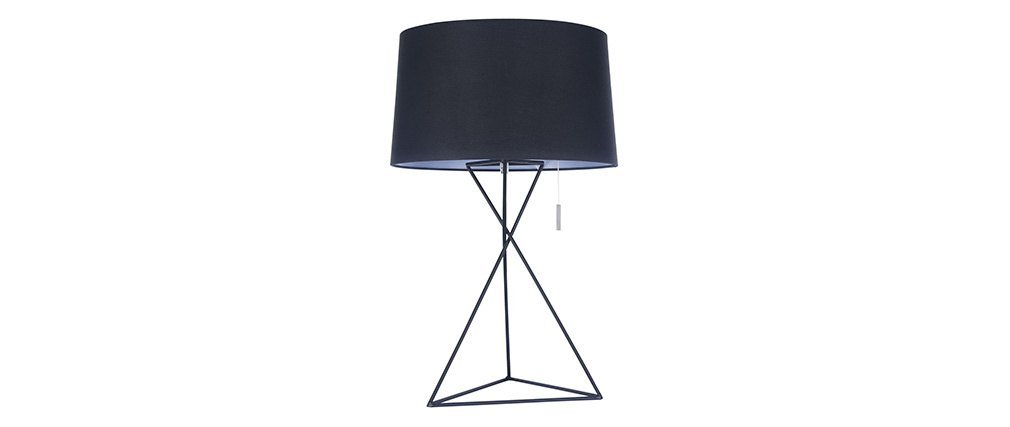 Lampe à poser design avec pied métal et abat jour tissu noirs GAUDI