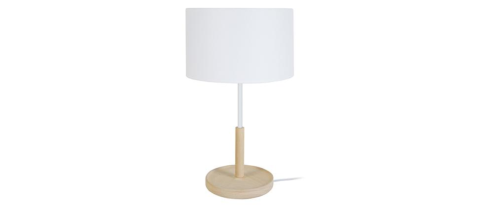 Lampe à poser design bois blanc ELIOT