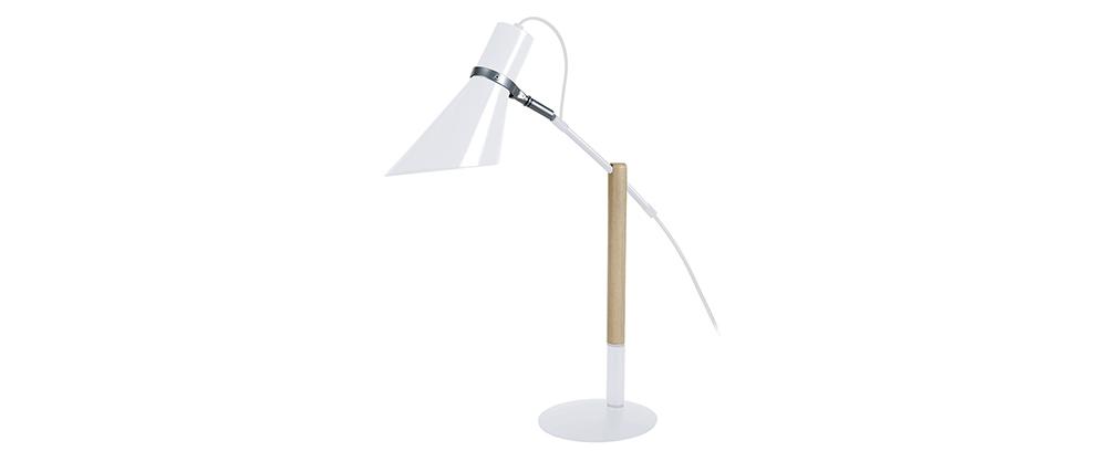 Lampe à poser design bois et acier blanc SOUND