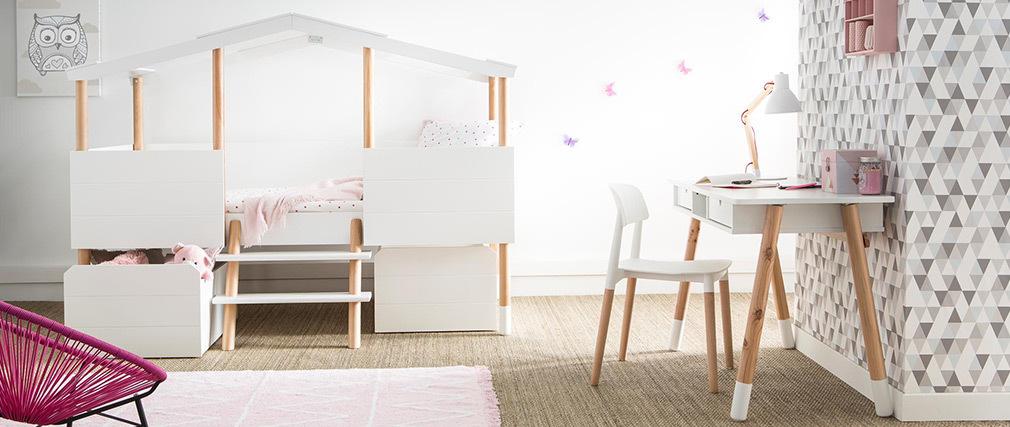 Lampe à poser design bois et métal blanc PIX