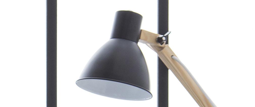 Lampe à poser design bois et métal noir PIX