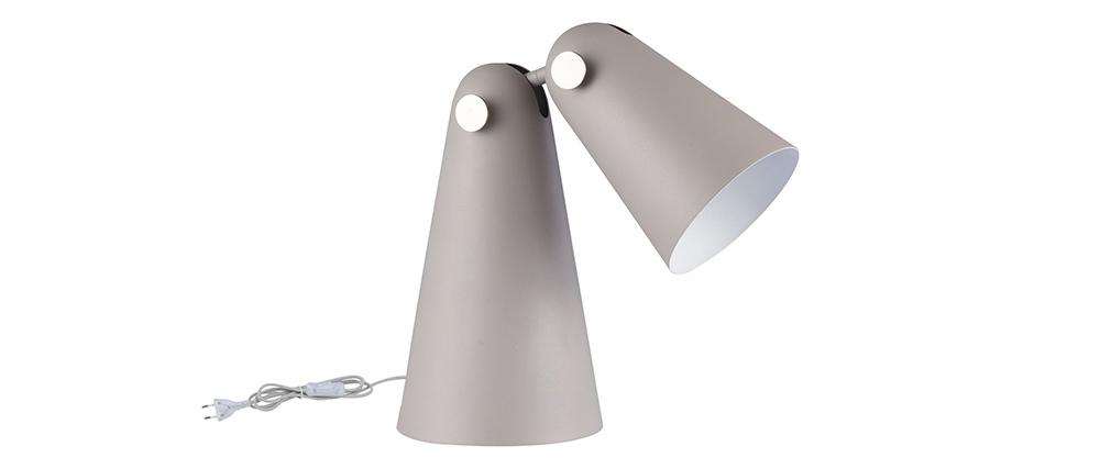 Lampe à poser design conique en métal et abat-jour gris mat NOVARA