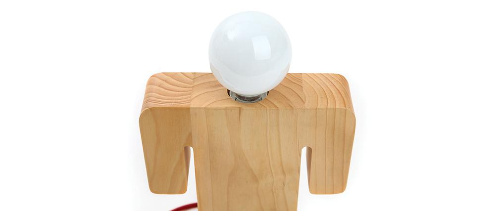 Lampe poser design en bois mister miliboo for Lampe en bois design