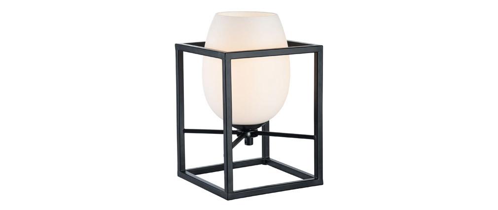 Lampe à poser design en métal noir avec globe en verre dépoli CABIN