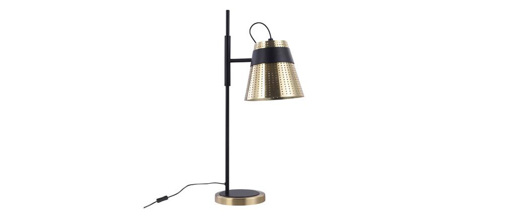Lampe à poser design en métal perforé doré et noir TRENTO