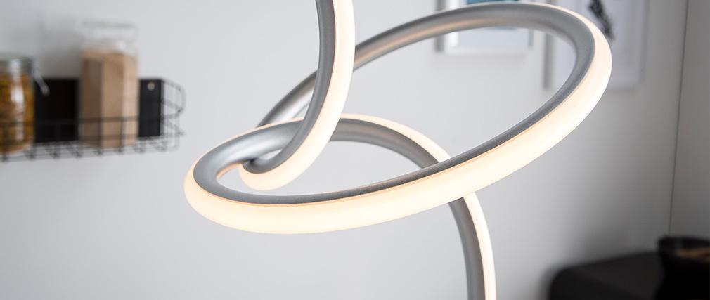 Lampe à poser design métal argent led intégré LASSO