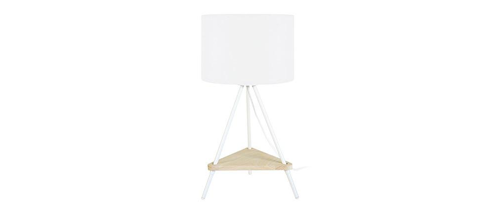 Lampe à poser design métal blanc et bois YIN