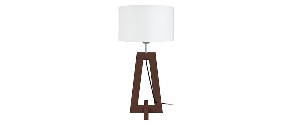Lampe à poser design pied bois foncé wengé MANON