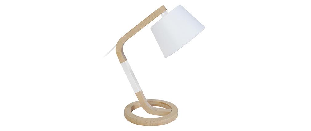 Lampe à poser design pied cercle bois blanc TWIST