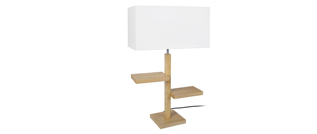 Lampe à poser design pied étages bois STEP