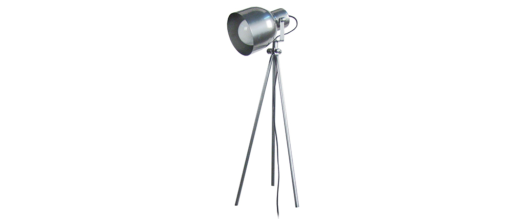Lampe à poser design trépied acier chromé CITY