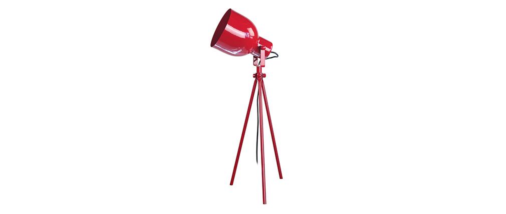 Lampe à poser design trépied acier rouge CITY