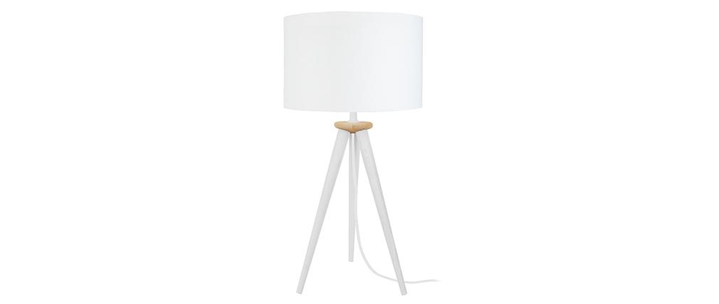 Lampe à poser design trépied bois blanc TRIPOD