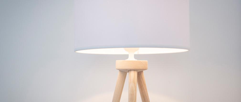 Lampe à poser design trépied bois naturel TRIPOD
