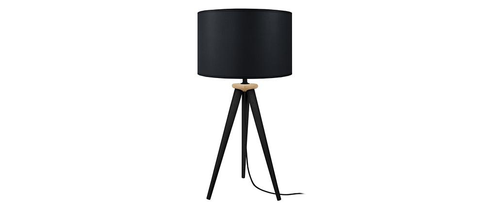 Lampe à poser design trépied bois noir TRIPOD