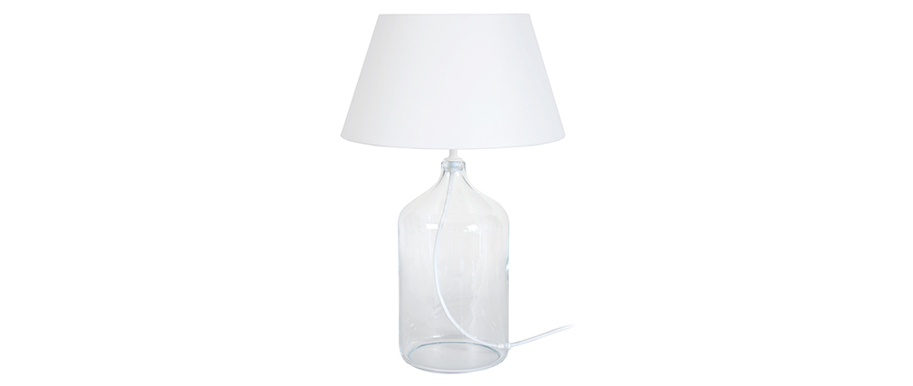 Lampe à poser design verre et blanc TRAVEL