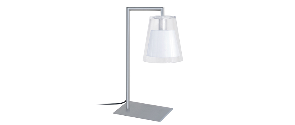 Lampe à poser design verre et métal blanc ACROSS