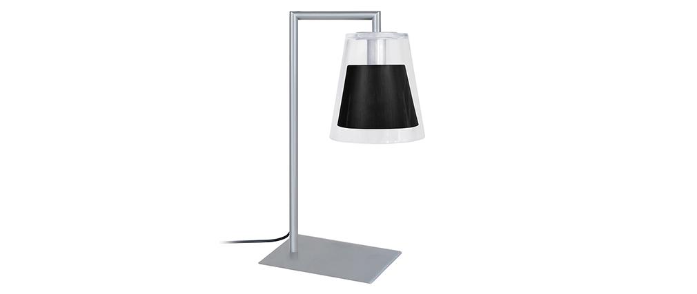 Lampe à poser design verre et métal noir ACROSS