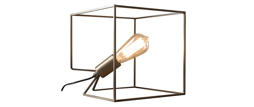 Lampe à poser en métal et finition bronze antique CORNER