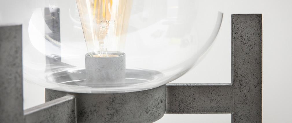 Lampe à poser en métal finition argent ancien et globe en verre HALCYON