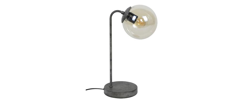 Lampe à poser en métal finition argent et verre GLOB