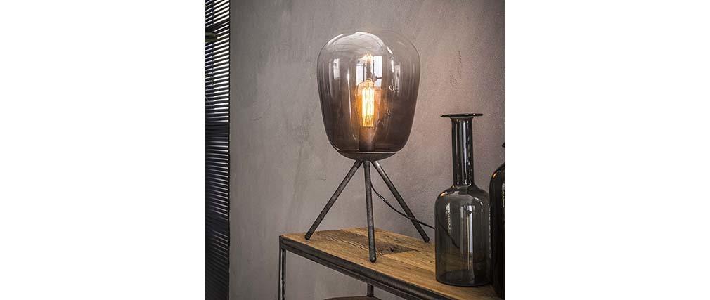 Lampe à poser en verre et métal finition argent ancien SMOKE