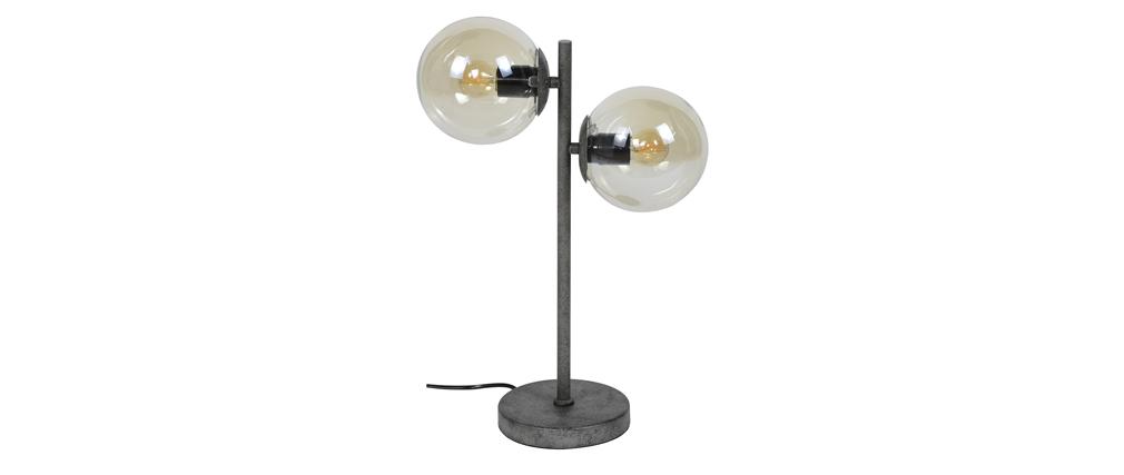 Lampe à poser en verre et métal vieilli GLOB