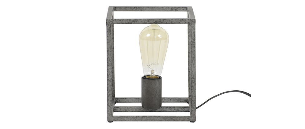 lampe poser industrielle en m tal finition argent ancien. Black Bedroom Furniture Sets. Home Design Ideas