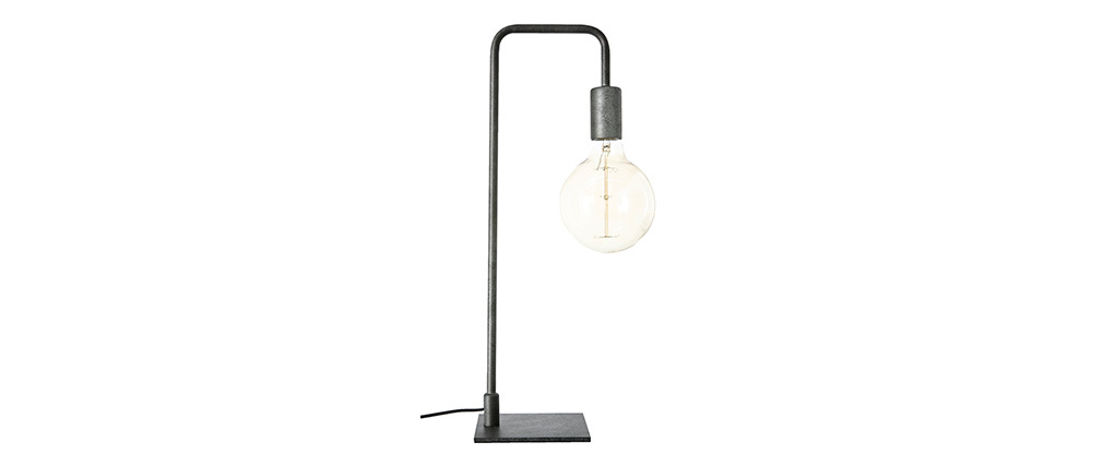 Garbi Lampe À Industrielle Noir Miliboo En Poser Métal OZuikXTP