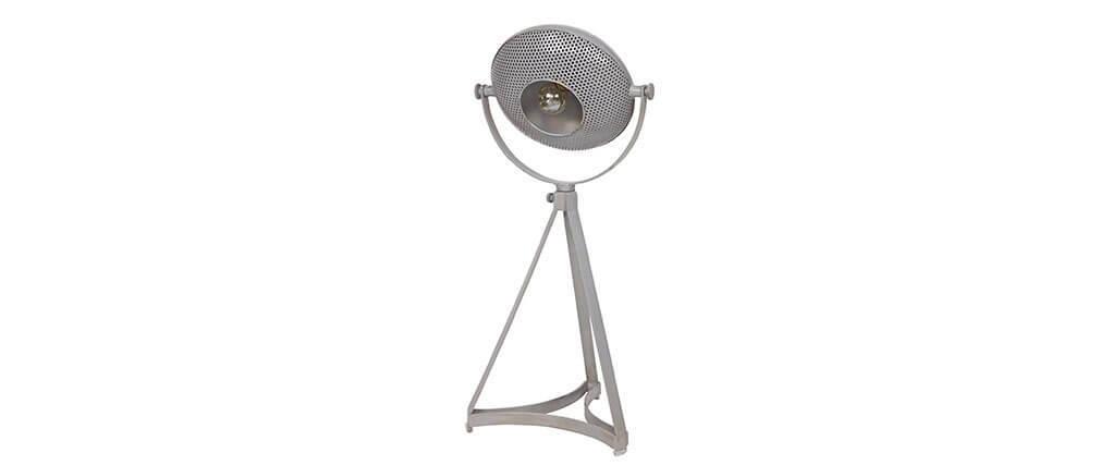 Lampe poser industrielle m tal gris bloum miliboo for Lampe a poser industrielle