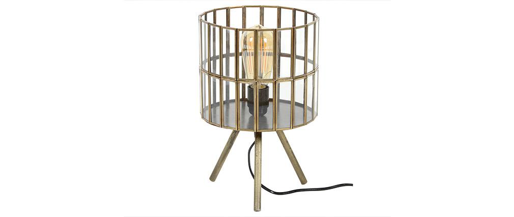 Lampe à poser industrielle sur pieds en métal bronze CANOPY