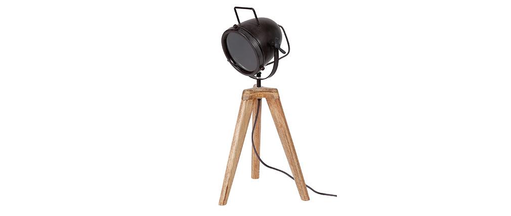 Lampe à poser industrielle trépied bois et métal STUDIO