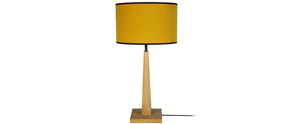 Lampe à poser jaune avec pied en bois NIDRA