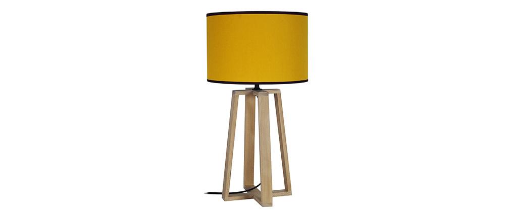 Lampe à poser jaune avec piètement croisé bois MANON