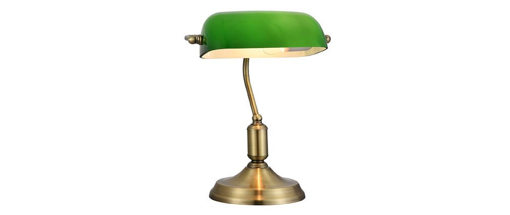 Lampe à poser métal laiton et verre laqué vert SCRITTO