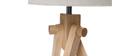 Lampe à poser scandinave pieds frêne et abat-jour lin HELIA