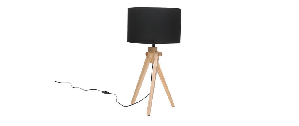 lampe poser scandinave pieds fr ne et abat jour noir. Black Bedroom Furniture Sets. Home Design Ideas
