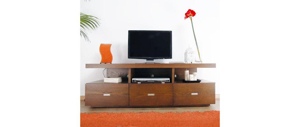 le meuble tv nardo en ch ne coloris chocolat miliboo. Black Bedroom Furniture Sets. Home Design Ideas