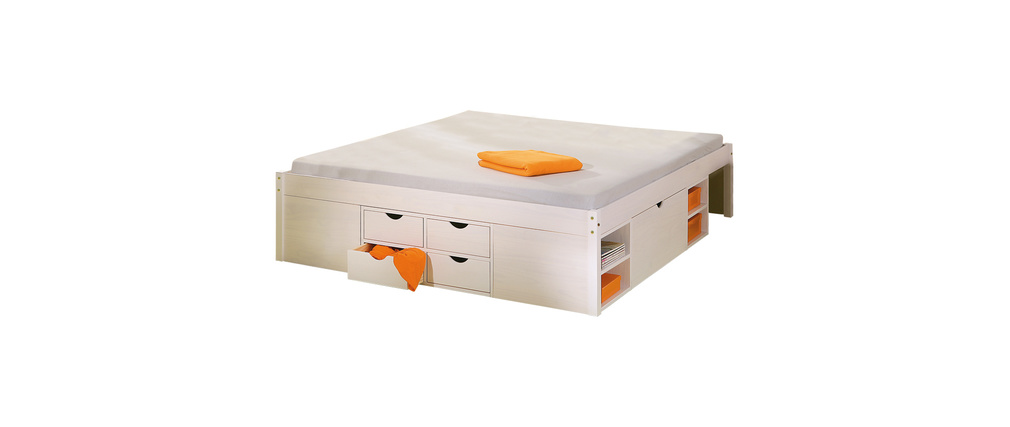 Lit 140x190 avec rangements intégrés blanc TIEGO