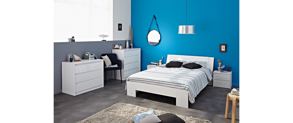lit 140x190 brillant blanc alpha miliboo. Black Bedroom Furniture Sets. Home Design Ideas