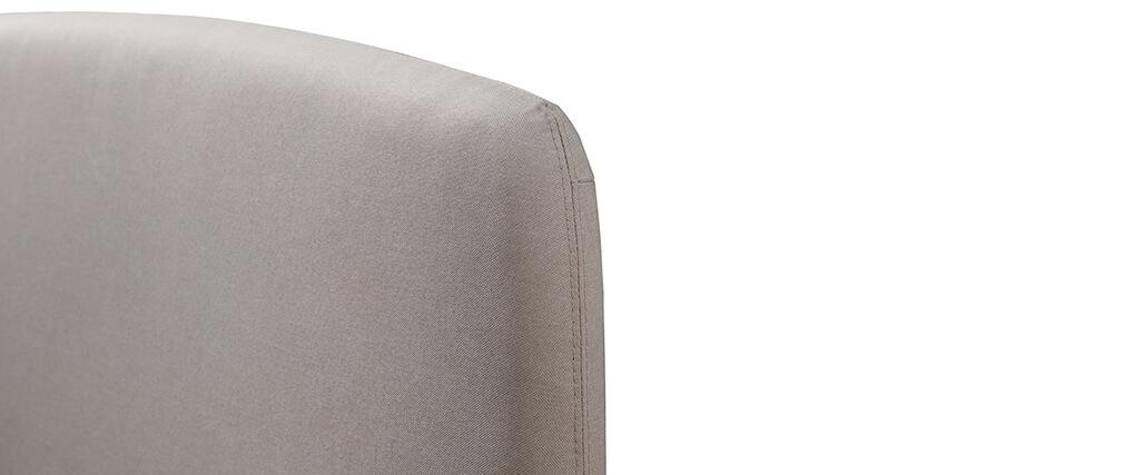 Lit 140x190 en tissu gris et bois NIELS