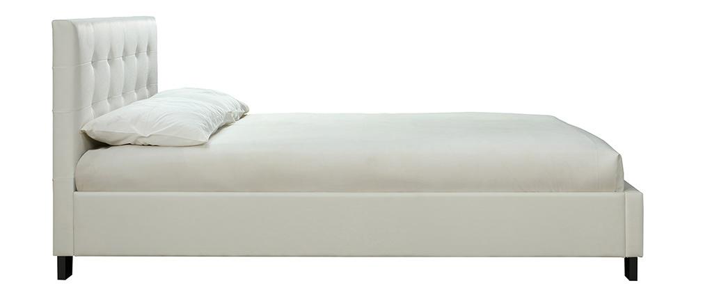 Lit 160 x 200 blanc capitonné MARQUISE