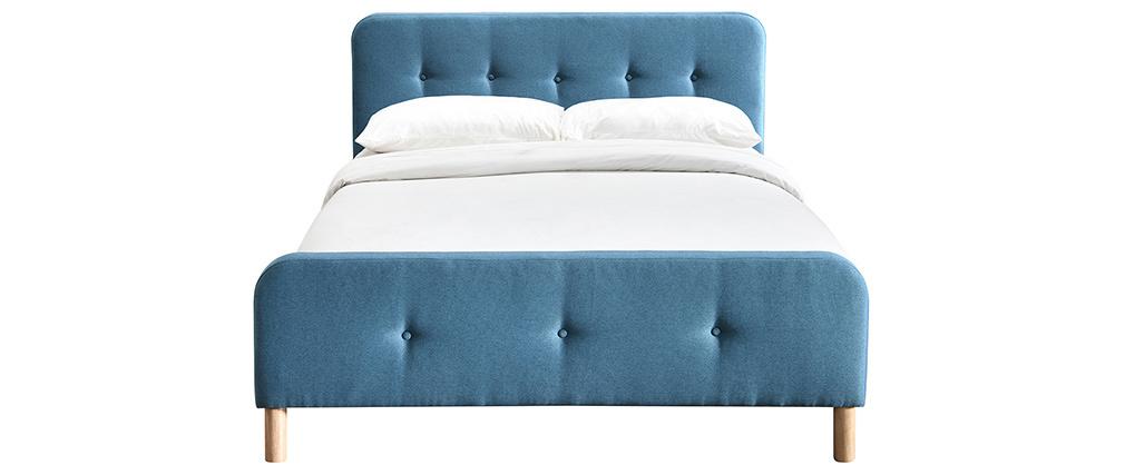 Lit 160 x 200 cm capitonné en tissu bleu canard ORLANE