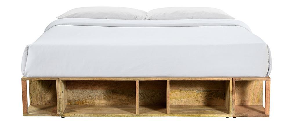 Lit 160 x 200 en manguier massif avec rangements DUMY - Miliboo & Stéphane Plaza