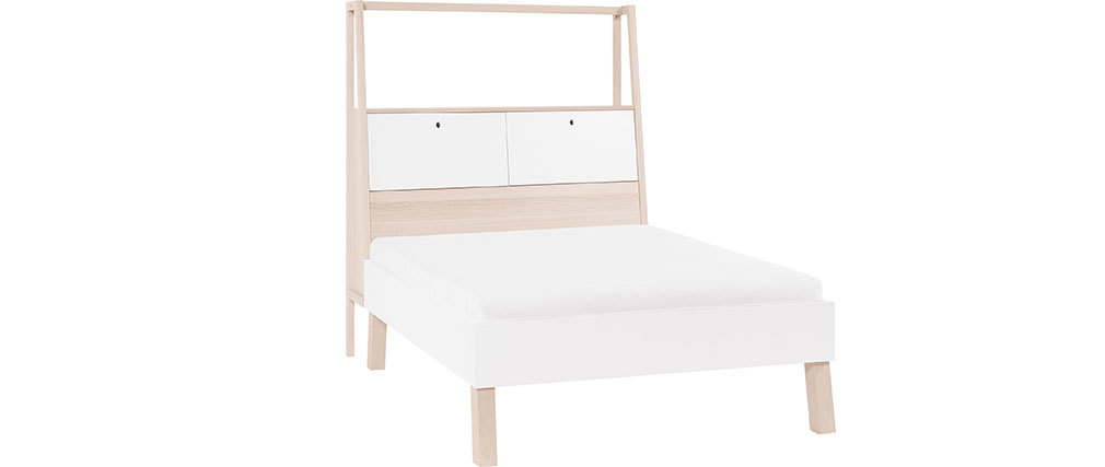 Lit 160x200 design avec rangements bois et blanc EASY