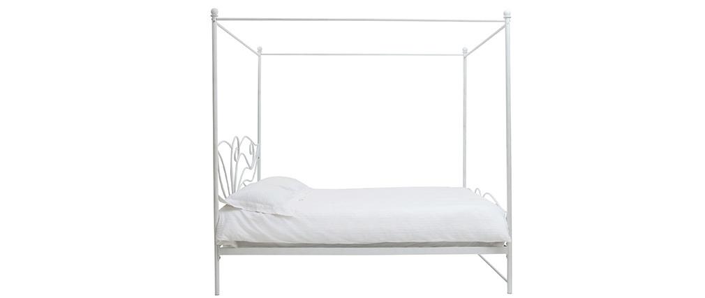Lit à baldaquin baroque blanc 160x200 VENEZIA