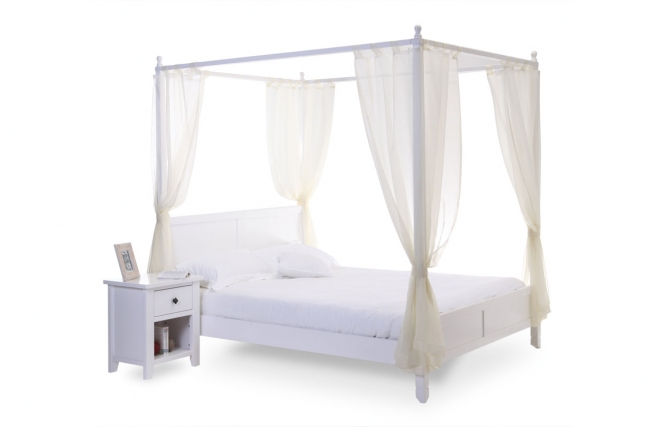 lit baldaquin romantique blanc 2 personnes arabesque miliboo. Black Bedroom Furniture Sets. Home Design Ideas