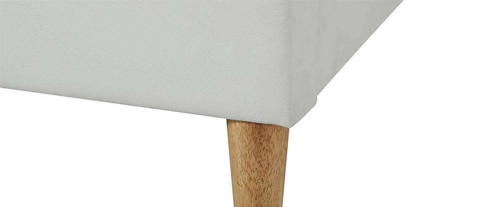 Lit adulte 160 x 200 cm avec sommier blanc et bois AYO