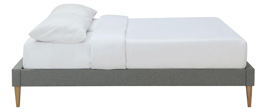 Lit adulte 160 x 200 cm avec sommier en tissu gris AYO